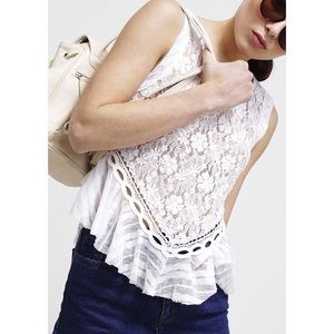 Free People Embroidered Tiered Floral Lace Tank